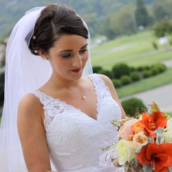 Fall Bride Portrait | White Lace Dress. Orange and White Bouquet