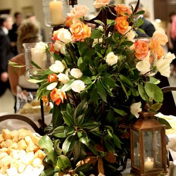 Fall Wedding Reception Table Centerpiece | White and Orange Roses, Brass Lantern