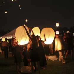 Summer Wedding Lantern Release | Tangled Inspired Lantern Release at Sun Down