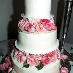 Summer Round Tiered Wedding Cake with Pink Rose Layers
