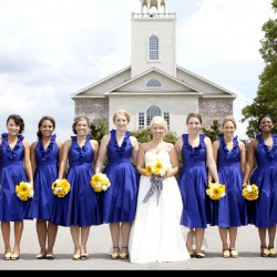 Summer Wedding Navy Cocktail Bridesmaid Dresses | Sunflower Yellow Bouquet