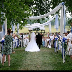 Summer Wedding Aisle Decorations | White Hanging Linen with Blue Accents