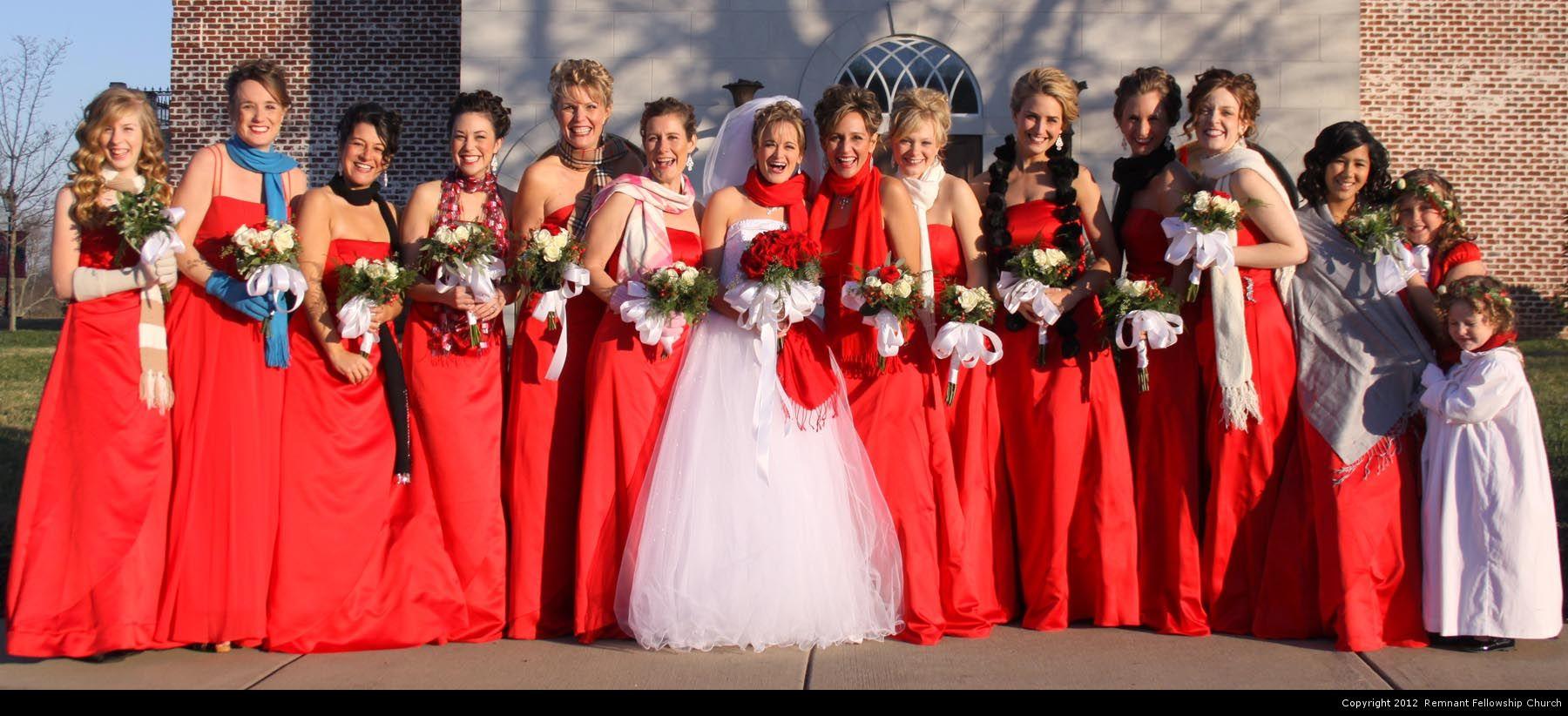 Red remnant fellowship weddings winter wedding red bridesmaid dresses ormazaelam covenant wedding ombrellifo Gallery