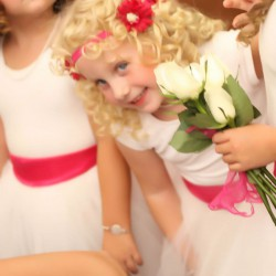Spring Wedding Flower Girls | White Tule Skirts, White Top and Hot Pink Sash