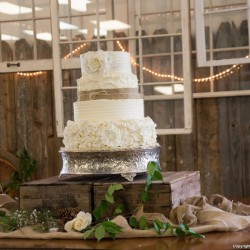 Rustic Fall Wedding Cake | White Tiered Wedding Cake with Ruffles and Burlap Accents