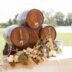 Rustic Fall Wedding | Barrel Drink Table Decorations
