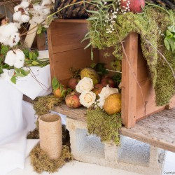 Rustic Fall Wedding Decorations | Wooden Crates with Moss and Flowers