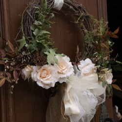 Rustic Fall Wedding Entry Decorations | Branch Wreath and Greenery with White Roses and Burlap, Tule Bows