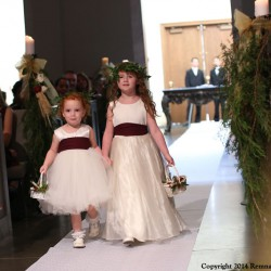 Fall Harvest Wedding, Flower Girls | White Tule Dresses and Flower Crown