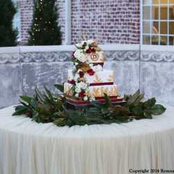 Fall Square Tiered Wedding Cake