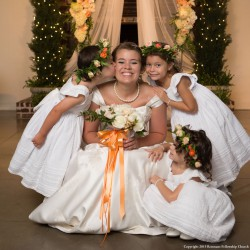 Summer Wedding Color Inspiration. Peach and White | White Tule Flower Girl Dresses and Peach Flower Crown
