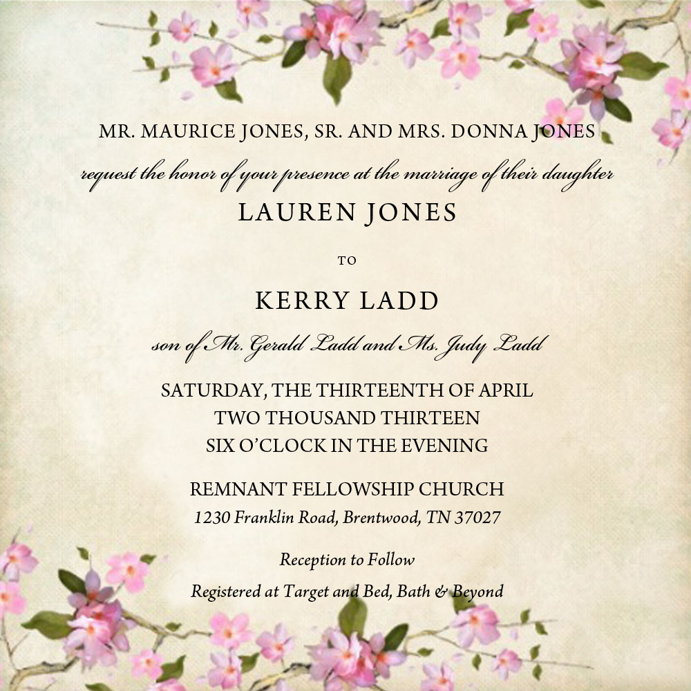 Wedding invitations remnant fellowship weddings april spring wedding invitation cream background with pink floral design monicamarmolfo Image collections