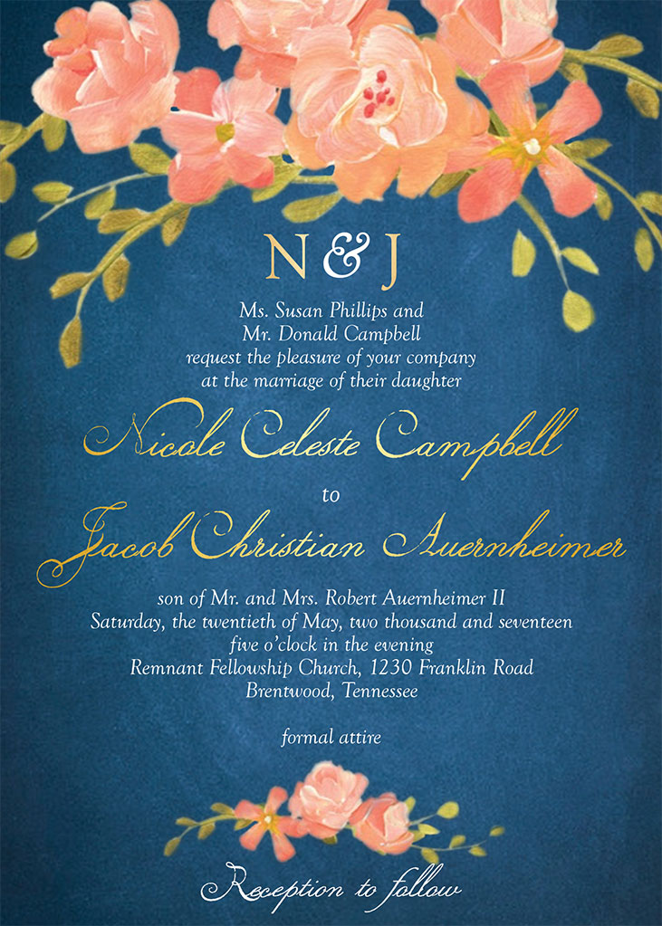 Nicole Campbell and Jacob Auernheimer Wedding Invitation