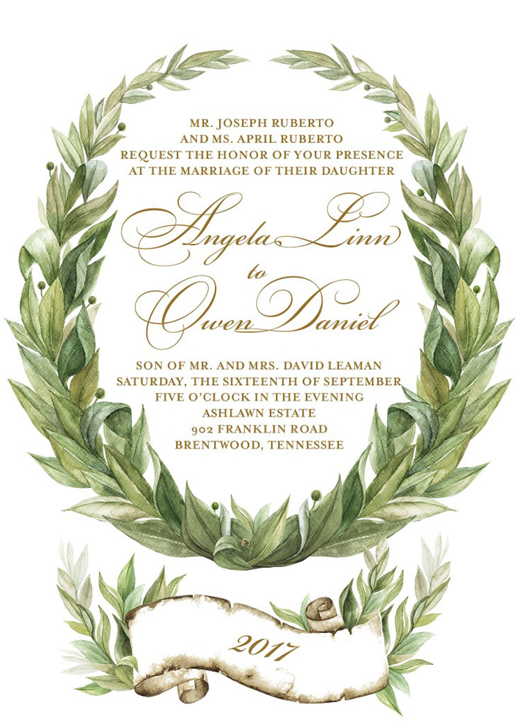 Angela Ruberto and Owen Leaman Wedding Invitation