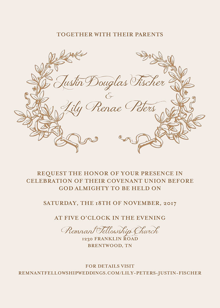 Lily Peters and Justin Fischer Wedding Invitation