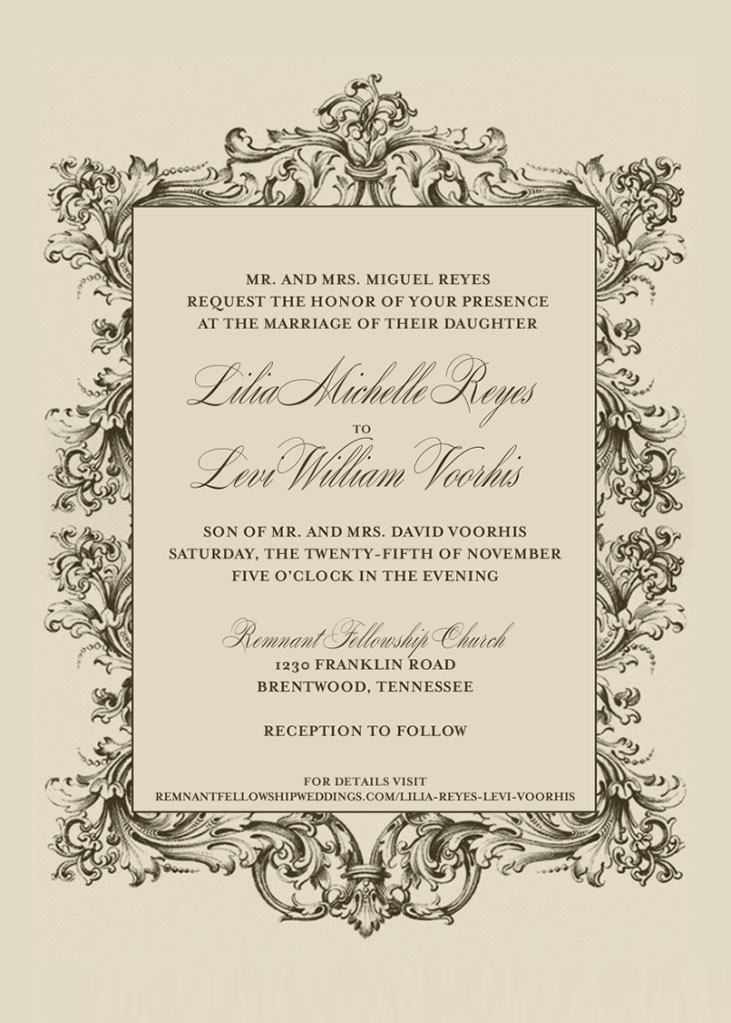 Lilia Reyes and Levi Voorhis Wedding Invitation