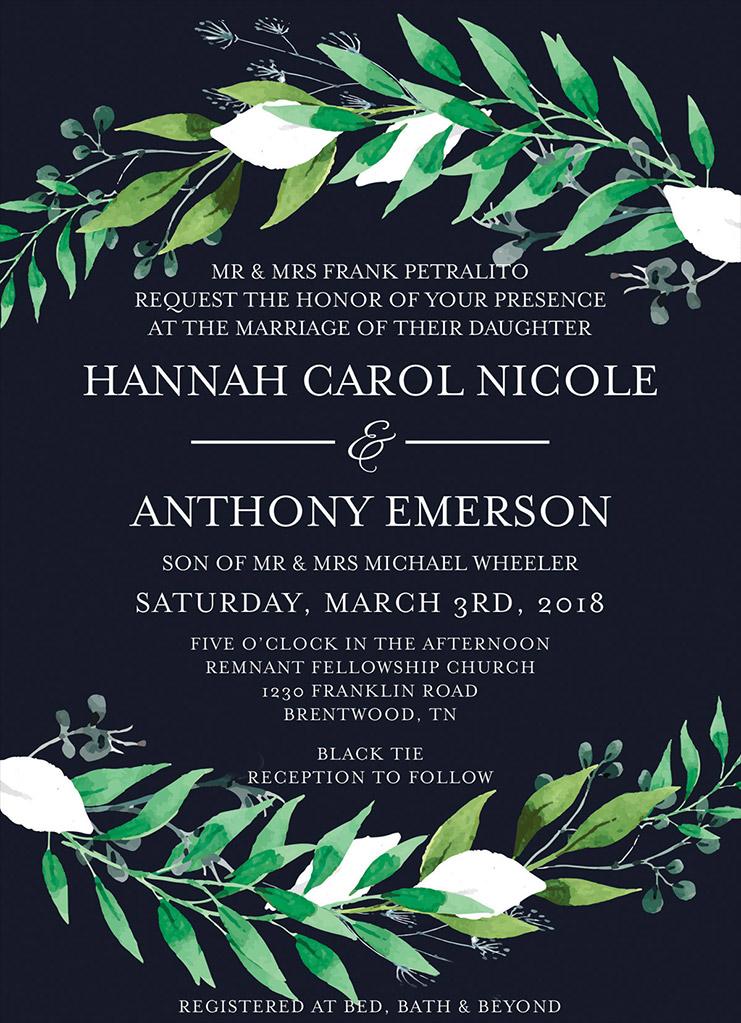 Petralito-Wheeler Remnant Fellowship Wedding Invitation