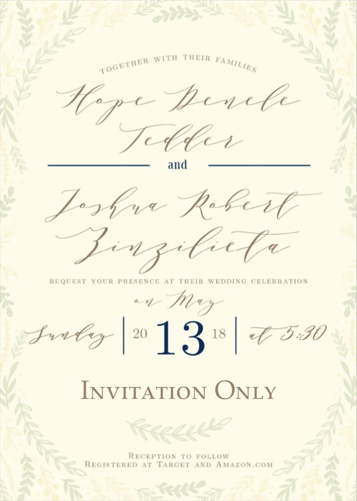 Tedder-Zinzilieta Remnant Fellowship Wedding Invitation