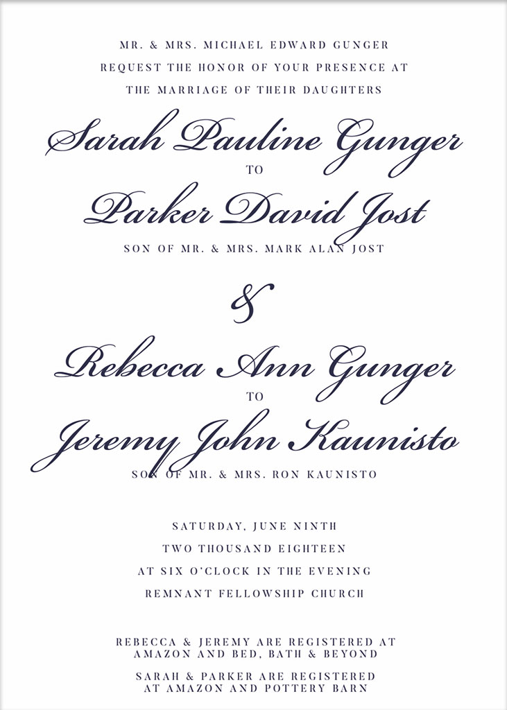 Gunger-Jost and Gunger-Kaunisto Remnant Fellowship Wedding Invitation