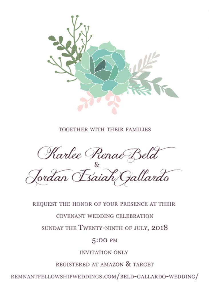 Beld-Gallardo Remnant Fellowship Wedding Invitation