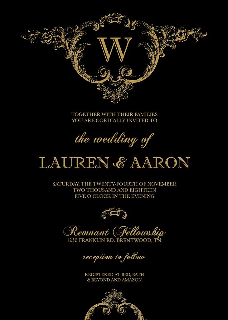 Lindgren-Wheeler Remnant Fellowship Wedding Invitation
