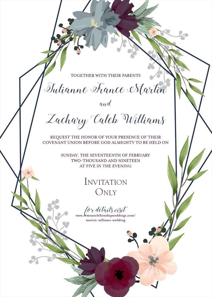 Martin-Williams Remnant Fellowship Wedding Invitation