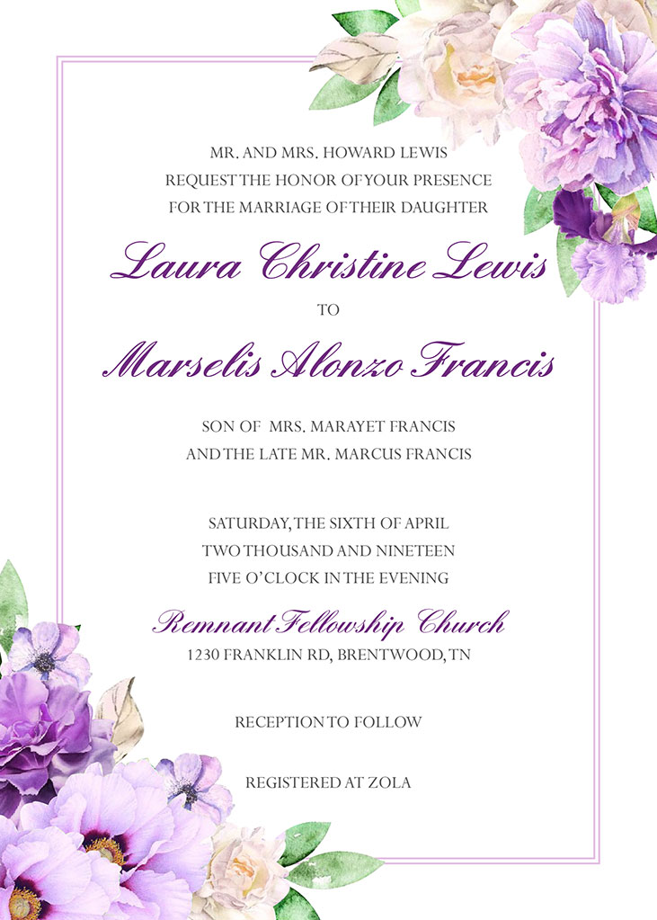 Lewis-Francis Remnant Fellowship Wedding Invitation