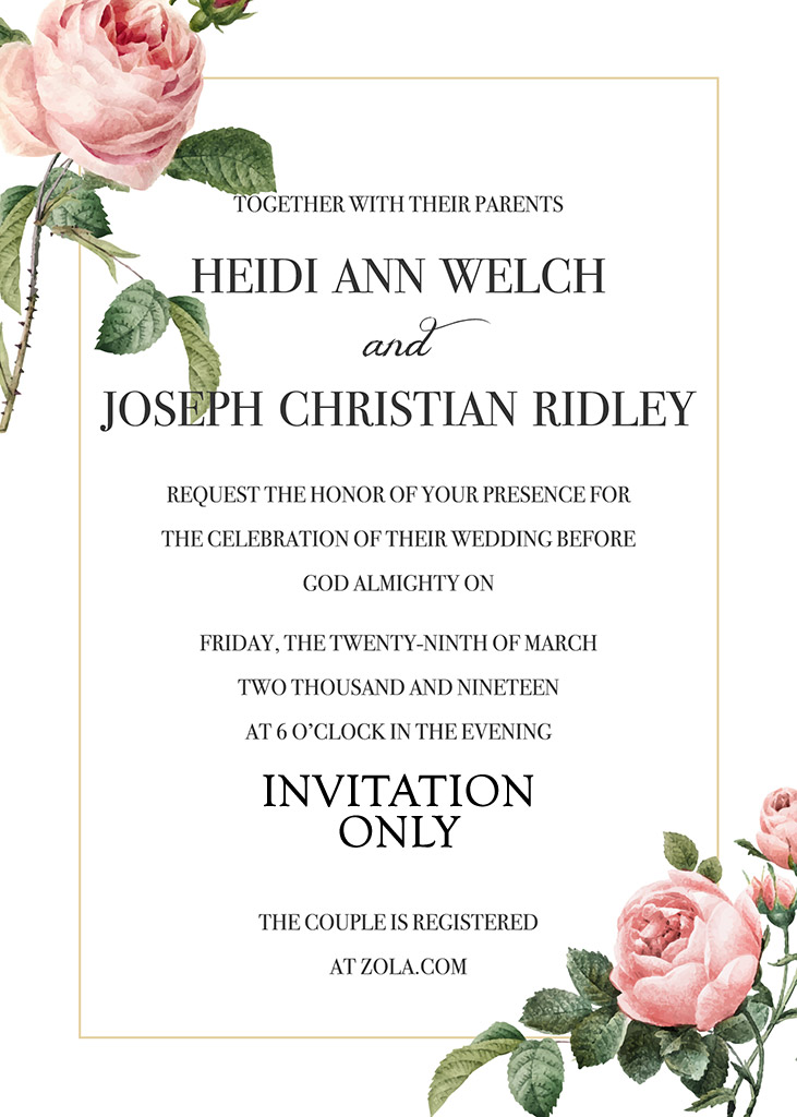 Welch-Ridley Remnant Fellowship Wedding Invitation
