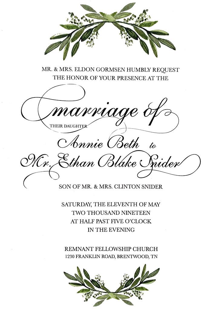 Gormsen-Snider Remnant Fellowship Wedding Invitation