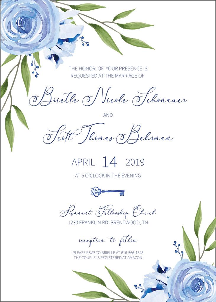 Schonauer-Behrman Remnant Fellowship Wedding Invitation