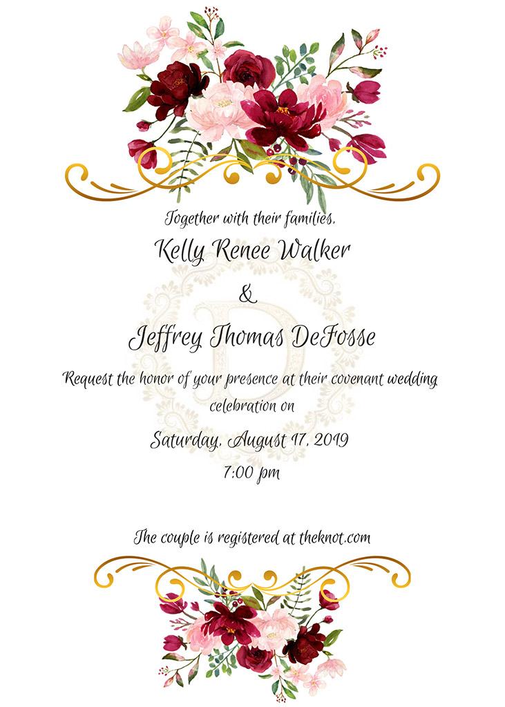 Walker-DeFosse Remnant Fellowship Wedding Invitation