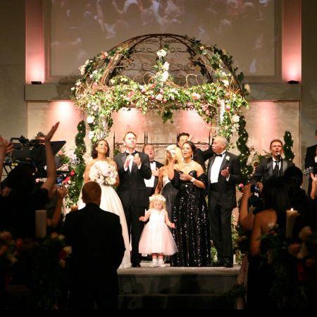 Spring Wedding Chuppah | Iron Chuppah with Pink Flowers and Greenery