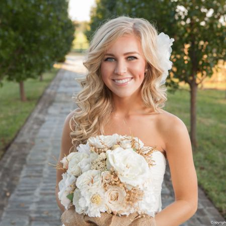 Fall Bridal Long Wavy Hair with Side Flower Accessory
