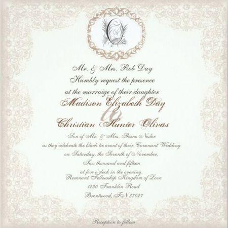 Fall November Wedding Invitation   Cream and Black Traditional Lace Design with Monogram
