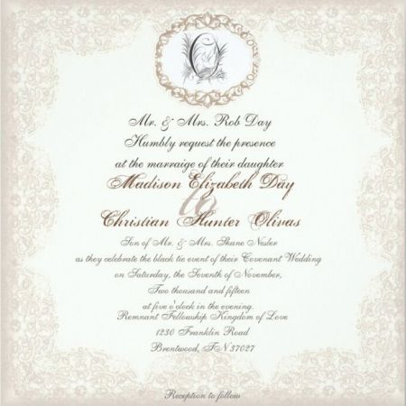 Fall November Wedding Invitation | Cream and Black Traditional Lace Design with Monogram