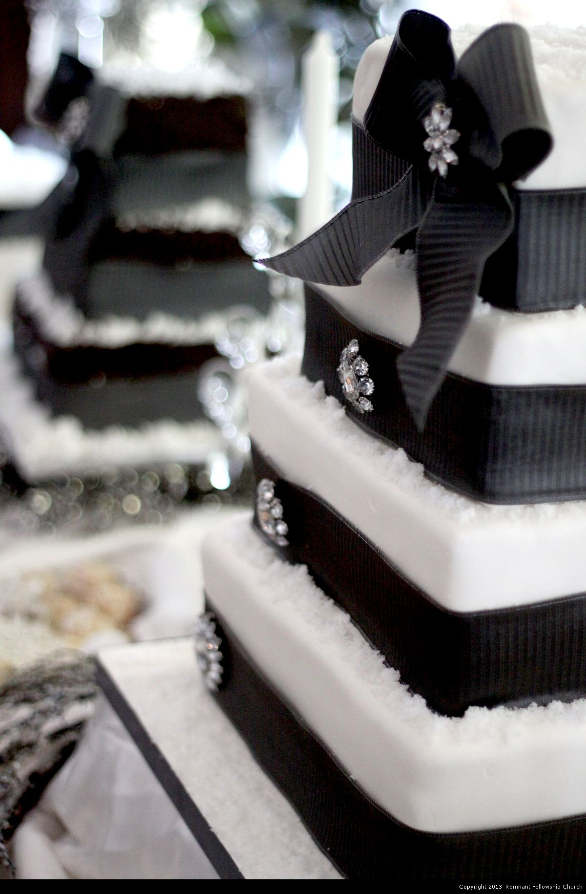 Winter Wedding Cake | Square Tiered Wedding Cake with Black Ribbon and Gem Accents