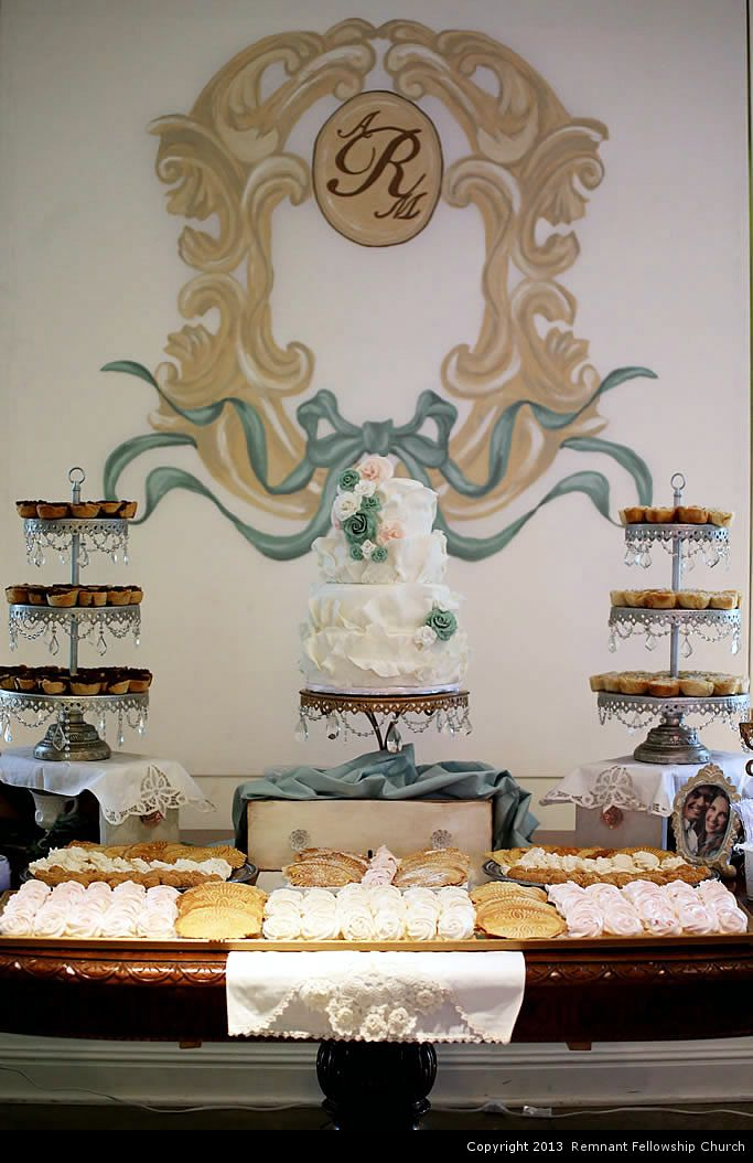May Spring Wedding Cake and Dessert Table Decoration | Mint and Tan