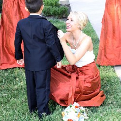 Fall Bridesmaids Dresses   White Lace Top and Burnt Orange Long Skirts