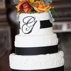 Wedding Cake Inspiration | White Five-Tiered Wedding Cake with Black Ribbon and Monogram