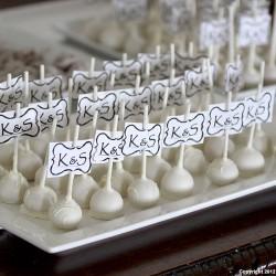 White Cake Pop Wedding Dessert | Bride and Groom Monogram. Wedding Cake, Cake Pops