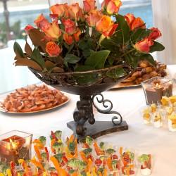 Fall Wedding Reception Centerpiece | Bronze Centerpiece with Orange Roses