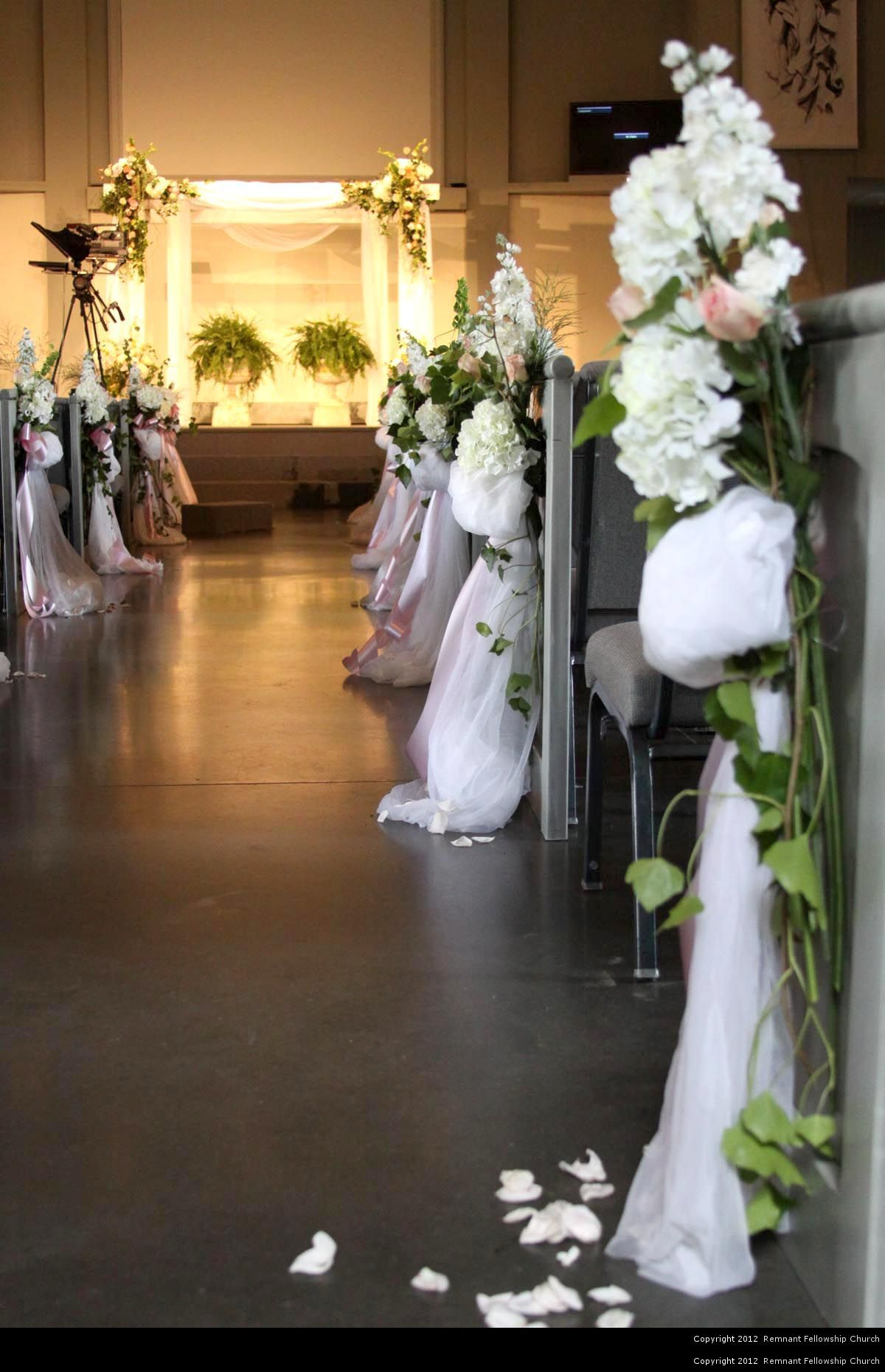 Spring White and Pink Floral Aisle Decorations