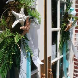 Summer Beach Theme Decorations   Door Wreath with Aqua Ribbon and Starfish