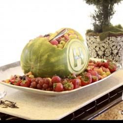 Summer Wedding Reception Table | Monogram Watermelon Bowl