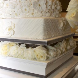 Summer Wedding Cake   Square Tiered Wedding Cake with Fondant Roses
