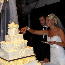 Square Tiered Wedding Cake   White Floral and Rosette Fondant