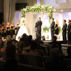 Summer Wedding Chuppah | White Wooden Chuppah with Greenery and White Roses