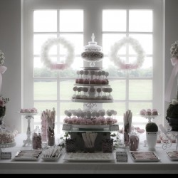 White and Pink Spring Wedding Dessert Table Decoration