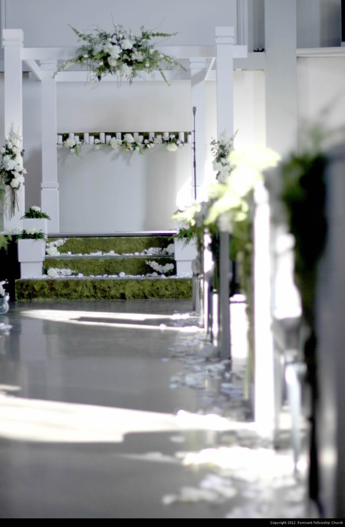 Spring Green and White Chuppah and Stage Decorations