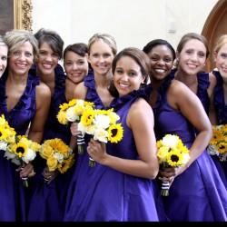 Summer Wedding Navy Cocktail Bridesmaid Dresses | Sunflower Yellow Bouquet